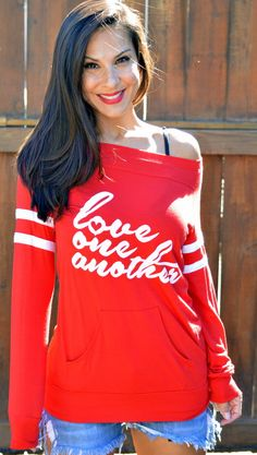 ♥︎ Love One Another. Red Sweater. Off the Shoulder Sporty Striped Sleeved Tee. Made in the USA. Women's Pullover Sweater. Custom Sweatshirt. Firedaughter Clothing ♥︎