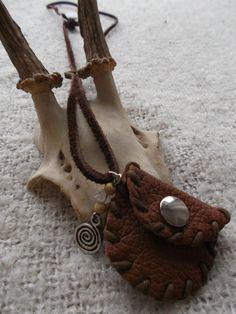Brown Pixie bag. Cute handmade leather mini medicine bag by Avalon designs NL