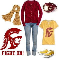 """A little """"matchy"""" for me, but I like the chucks w the retro t and scarf:)    """"Game Day"""" by kswirsding on Polyvore"""