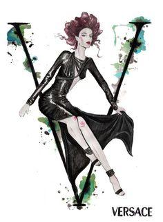 "Alphabet Of Fashion. The A-Z Of Fashion - ""Versace"" Fashion Art Illustration, Illustrators, Image Illustration, Sketches, Illustration, Drawings, Sketch Design, Artwork, Fashion Artwork"
