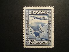 Greece 1933 Air Post Hel Mint Stamp Without Gum Greek Beauty, Greek History, Stamp Collecting, Postage Stamps, Printmaking, Transportation, Aviation, Coins, Elephant