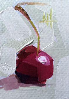 Cherry No 15 Original Still Life Oil Painting Angela Moulton ACEO Art | eBay
