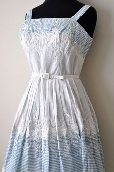 Vintage 50's White and Blue Cotton Day Dress size by bfyvintage, $115.00