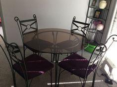 Glass & Wrought Iron 5 Piece Dining Set