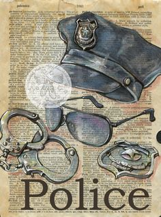 Druck: Polizei Mischtechnik Zeichnung auf antike Wörterbuch