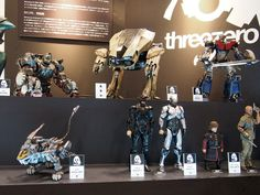 Our display at winter Wonderfest in Japan, showing production samples: Zoids Shield Liger and prototypes (still working on them):  Zoids Iron Kong , Mazinger Z, Game of Thrones Tyrion Lannister, RoboCop V1 and V3, RoboCop ED-209, The Walking Dead Merle Dixon.  #threezero #Wonderfest #Japan