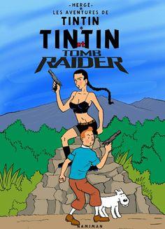 Tintin et Tomb Raider Tomb Raider Ii, Tomb Raider Lara Croft, Haddock Tintin, Tin Tin Cartoon, Comic Art, Comic Books, Lucky Luke, Raiders, Photos