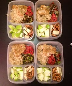 Meal prep for the week- baked chicken, brown rice, roasted veggies, apples, cheese and pretzels #easylunchboxes