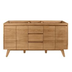 Avanity Coventry Natural Teak Bathroom Vanity Cabinet at Lowe's. Inspired by mid-century modern console design, the Coventry collection from features solid teak construction with minimal ornamentation. The 60 in. Teak Bathroom, Bathroom Vanity Base, Bathroom Vanity Cabinets, Wood Vanity, Bathroom Furniture, Master Bathroom, Bathroom Ideas, Bathroom Faucets, Rustic Furniture