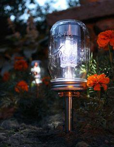 Solar garden lights made out of mason jars