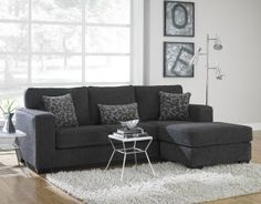 Anthony Charcoal Sectional Sofa Set - If your room is too small even to get a small sectional or you would like to leave som Dark Grey Sectional, Grey Sofa Set, Dark Grey Couches, Dark Sofa, Couch With Chaise, Chaise Sofa, Sectional Sofas, Small Sectional, Houses
