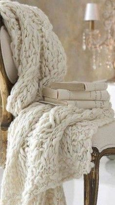 French Gilt Chair With Cable Knit Throw From An Angel At My Table White furniture adds a clean, fresh look to a room. Additionally, white is versatile Home Interior, Interior Design, Cable Knit Throw, Glamour Decor, Deco Retro, Decor Scandinavian, Boho Home, Knitted Throws, Knitted Rug