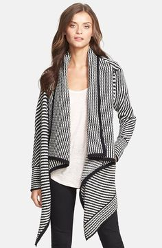 Free shipping and returns on Joie 'Mathisa' Open Front Wool & Cashmere Cardigan at Nordstrom.com. Thick wool and cashmere yarns are knit into mesmerizing, monochrome stripes on an ultrachic cardigan tailored with a draping, open front. Fitted sleeves and wide black trim streamline the eye-catching style.
