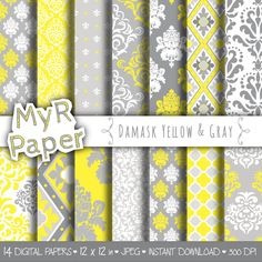 """Digital paper damask: """"DAMASK YELLOW & GRAY"""" digital paper pack with Yellow and Grey damask backgrounds for scrapbooking di MyRpaper su Etsy With #love by @myrpaper #pattern #design #graphic #paperdesign #papercraft #scrapbooking #digitalpaper"""