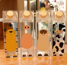 Cute cartoon Bpa Free Creative Hip Flask Sports outdoor Bottle Animal Cow pig Plastic My Water Bottles tiger Milk kettle Cute Water Bottles, Plastic Bottles, Plastic Cups, Plastic Milk, Milk Bottles, Cow Cat, Food Storage Boxes, Stainless Steel Types, Cute Cows