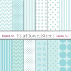 "Aqua Blue Digital Paper Pattern 8.5x11 - Baby Color Soft Blue White Dot Striped Chevron Flower Paper Scrapbook - Instant Download 8.5""x11"" by StarFlowerStreetDA #DigitalPaper"