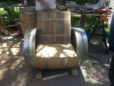 Chair made from barrels