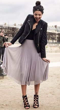 what to wear with a midi skirt : black biker jacket + lace up heels + v neck top