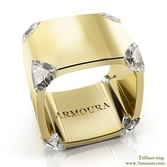 Trilliant ring in 18k yellow gold with diamonds from www.Armoura.com