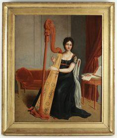 Le Marché Biron - La harpiste, signée C Délestres An 9 Art Antique, 1800s Fashion, Art Graphique, Fashion Portraits, Regency, Trekking, 19th Century, Paintings, Style