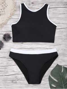 b6f78ea36b Padded Two Tone Sporty Bikini Set - BLACK S Sporty Swimwear