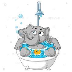 Слон милый Ник.  Слон.  Символ.  Принять ванну.  Большая коллекция изолированных слонов.  Вектор, мультфильм.  EPS 10.