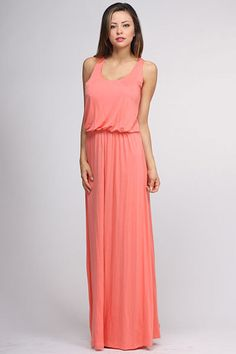 Casual Maxi Dress... #coral #long #fashion   https://www.facebook.com/dazzlemedeals