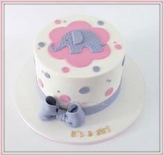 Elephant themed baby shower cake.