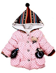 Baby Girls Toddler 2 Small Gloves Small Dots Pointy Hat Warm Hoodies Snowsuit Outwear (L(0.5-1Year), Pink). Brand new and high quality. Variation Attributes: Size- L(0.5 1Year). Package include: 1*baby girl coat. Fabric: Cotton. Filling: natural cotton. Lining: Single cashmere. Pattern: Dot.