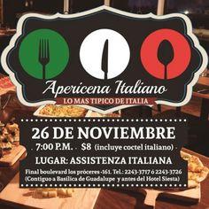 Miércoles 26 de Noviembre a las 7pm APERICENA ITALIANO! Lo mas típico de Italia!!! Entrada $8 a la venta en Assistenza Italiana. 《Todos los fondos recaudados serán destinados para fortalecer los proyectos que apoyamos》#StudyAndFun #Apoya #AssistenzaItaliana Dona #Contribuye