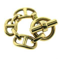 HERMES Chain D'ancre Gold Chain Ring | From a unique collection of vintage fashion rings at http://www.1stdibs.com/jewelry/rings/fashion-rings/