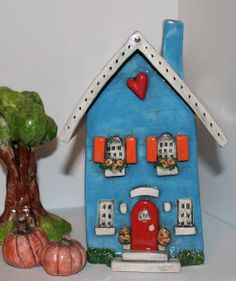 Clay House Heart Home in Blue with Orange Shutters by HeartHomes, $75.00