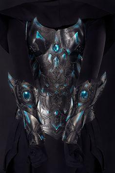 Female Leather Bracers Warrior Dark Elf Armor by IronWoodsShop