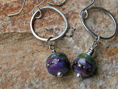 Lampwork bead earrings argentium silver by fishbonesilver on Etsy