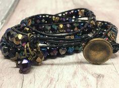 Triple wrap black leather beaded bracelet £20.00