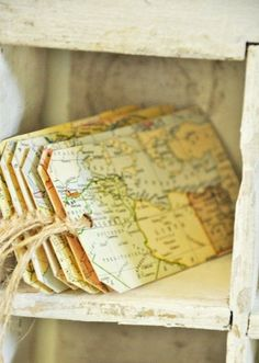 handcrafted bookmarks ... Marcadores De Livros! ... upcycled maps ... Vinage look ... twine to attach as a tag ...