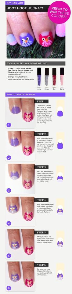 Julep owl tutorial. Do not know where this came from.