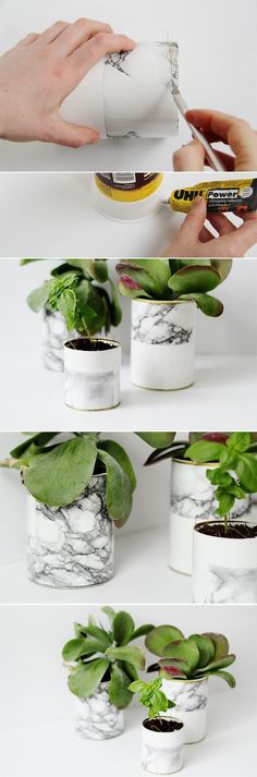 These DIY marble planters are quick, easy and ridiculously cheap to make. I've been hoarding empty food packaging to make concrete vases (alas one day) but it w Diy Projects To Try, Craft Projects, Jardin Decor, Ideias Diy, Diy Art, Diy Tutorial, Diy Gifts, Diy And Crafts, Budget Crafts