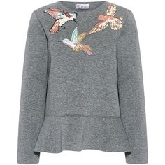 Red Valentino - Hummingbird Embroidery Sweatshirt found on Polyvore featuring tops, hoodies, sweatshirts, embroidery top, structured peplum top, peplum sweatshirt, embroidered sweatshirts and boxy tops