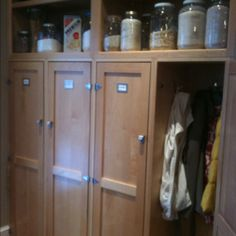 Favorite part of my kitchen, 4 lockers and open shelves.