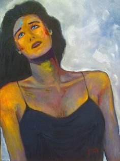 Woman in Black Slip (January 2015), oil on canvas, 24 x 18.