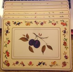 Set of 6 Royal Worcester EVESHAM Corkboard Backed Placemat Plums Fruit Gold Trim #RoyalWorcester