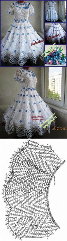 """Платье """"Незабудка в белом ажуре"""" - вязание крючком на kru4ok.ru"""