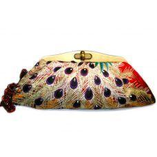 Kimono Clutch-Jewelled Purple Peacock Feathers