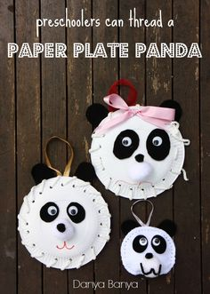 Paper Plate Panda decorations - what a cute way to introduce kids to sewing! ~ Danya Banya