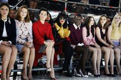 Adele Exarchopoulos, Lea Seydoux, Margot Robbie, Rihanna, Lupita Nyong'o, Elizabeth Olsen, Bella Heathcote and Elle Fanning front row at Miu Miu