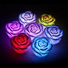 Melhor 1 peça venda quente LED romântico Rose diodo emissor de luz flor cor mudou lâmpada luz decoração do casamento frete grátis