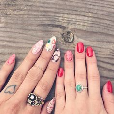 Lynette Cenée and G wearing our Valentines Day Make Me Nails nail wraps!  #MakeMeNails #ValentinesDay #Nails