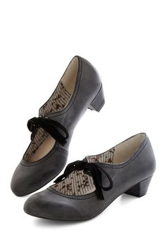 low heel 1920s style shoes:Stacks or Fiction Heel in Charcoal $59.99 AT vintagedancer.com