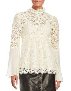 Rachel Zoe Long Sleeved Lace Embroidered Top Women's Ecru 4